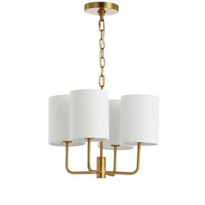 Safavieh Elias 4-Light Brass Gold Chandelier with Off White Shade - Home Depot