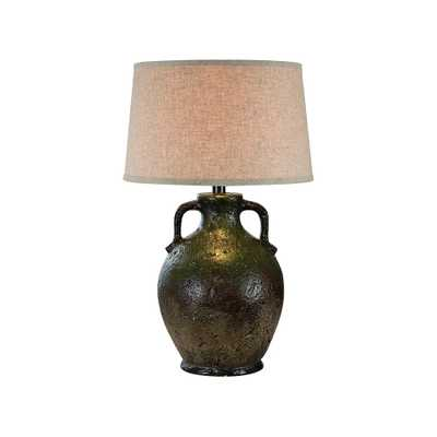 Vellen Green and Brown Hydrocal 2-Handle Jug Table Lamp - Style # 71V61 - Lamps Plus