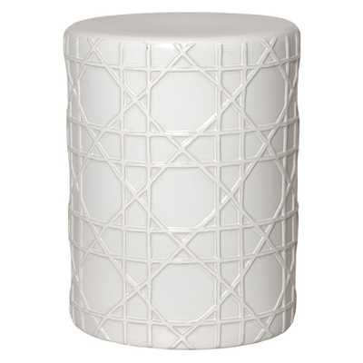 Emissary White Cane Ceramic Garden Stool - Home Depot