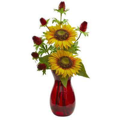 Nearly Natural Indoor Sunflower and Thistle Artificial Arrangement in Red Vase - Home Depot