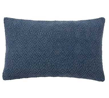 "Washed Linen Diamond Lumbar Pillow Cover, 16 x 26"", Sailor Blue - Pottery Barn"