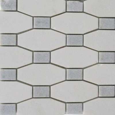 Splashback Tile Diapson White Thassos with Blue Celeste Dot Polished Marble Tile - 3 in. x 6 in. Tile Sample, White/Polished - Home Depot