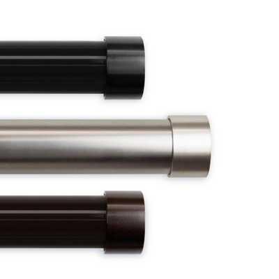 Rod Desyne 1.5 in. Dia Cap 66 in. L - 115 in. L Curtain Rod Set in Black - Home Depot