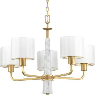 Progress Lighting Palacio Collection 5-Light Vintage Gold Chandelier with Shade - Home Depot