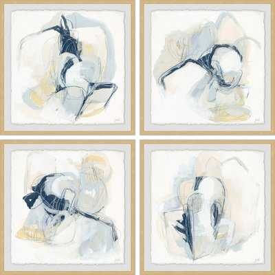 'Pastel Sketches' 4 Piece Framed Acrylic Painting Print Set - Birch Lane