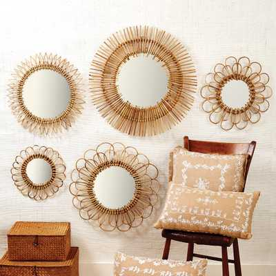Natural Round Rattan Decorative Wall Mirror Set (Set of 5) - Home Depot