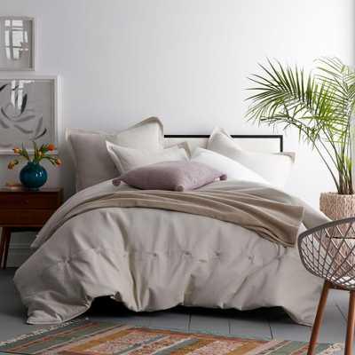 Asher Solid 3-Piece Pumice Cotton Queen Duvet Cover Set - Home Depot
