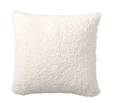 """Faux Sheepskin Pillow Cover, 18"""", Ivory - Pottery Barn"""