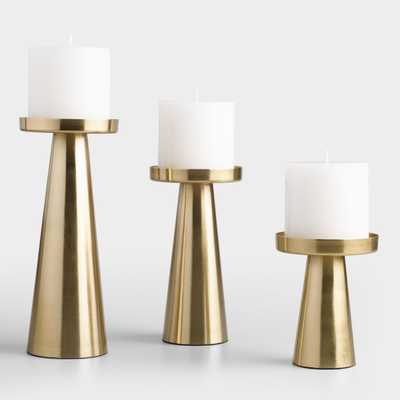 Brushed Gold Metal Contemporary Pillar Candleholder - World Market/Cost Plus