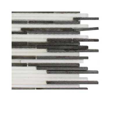 Splashback Tile Tetris Stylus Basalt Natural Stone Mosaic Floor and Wall Tile - 3 in. x 6 in. x 8 mm Tile Sample, Multi - Home Depot