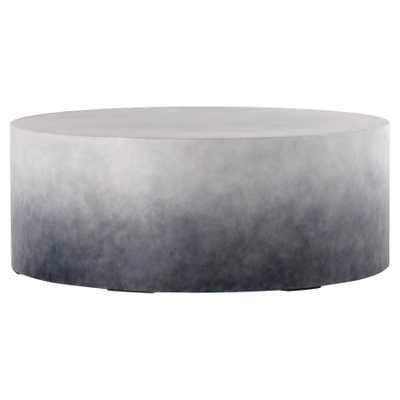 Erin Industrial Loft Solid Round Indigo Ombre Concrete Outdoor Coffee Table - Kathy Kuo Home