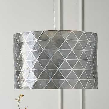 Cfl Faceted Capiz Drum Pendant Shade With Clear 3-Wire Cord Set - West Elm