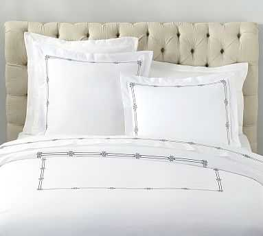 Emilia Embroidered Organic Duvet Cover, Twin, Midnight - Pottery Barn