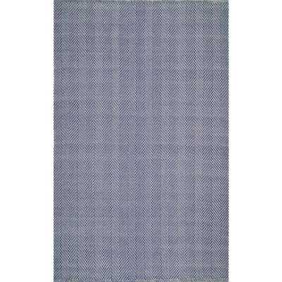 Herringbone Cotton Navy (Blue) 6 ft. x 9 ft. Area Rug - Home Depot