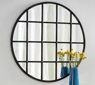 "Eagan Multipanel Round Mirror, 44"", Bronze Finish - Pottery Barn"