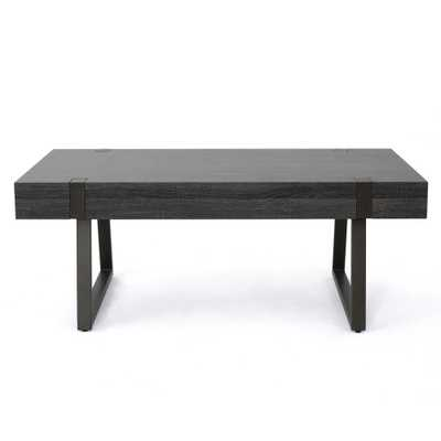 Noble House Oak Black Rectangular Wood and Metal Coffee Table - Home Depot