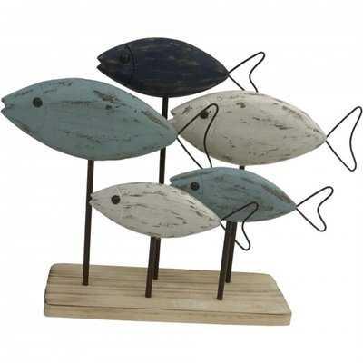 Howie Wooden Fish on Base Figurine - Wayfair