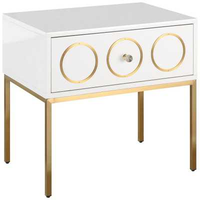 Ella High Gloss White Lacquer and Brushed Gold Side Table - Style # 34P16 - Lamps Plus