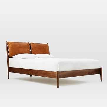 Arne Bed + Leather Cushion - King, Walnut - West Elm