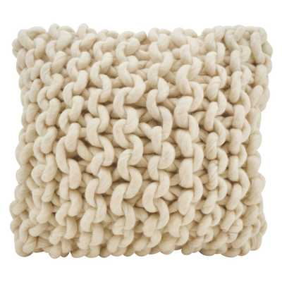 "Saro Lifestyle 18""x18"" Chunky Knit Filled Down Filled Throw Pillow Cream (Ivory) - Target"