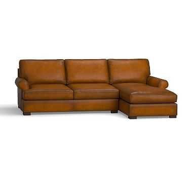 Townsend Roll Arm Leather Left Chaise Sofa Sectional, Polyester Wrapped Cushions, Leather Burnished Bourbon - Pottery Barn