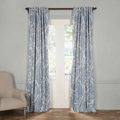 Exclusive Fabrics & Furnishings Semi-Opaque Tea Time China Blue Blackout Curtain - 50 in. W x 108 in. L (Panel) - Home Depot