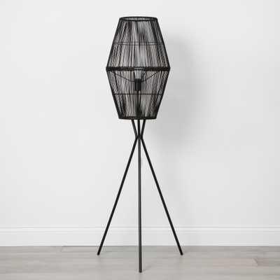 Rattan Diamond Tripod Floor Lamp Black (Lamp Only) - Opalhouse - Target