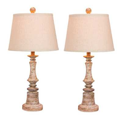 Fangio Lighting Pair of 26.5 in. Distressed Resin Table Lamps in a Cottage Antique Beige - Home Depot