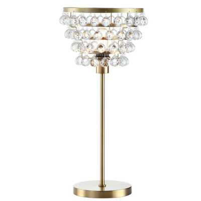 JONATHAN Y Buckingham 25 in. Brass Gold/Clear Crystal/Metal Table Lamp - Home Depot