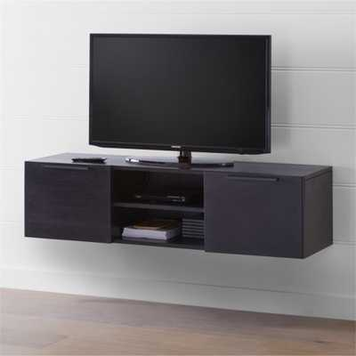 """Rigby 55"""" Small Floating Wenge Media Console - Crate and Barrel"""