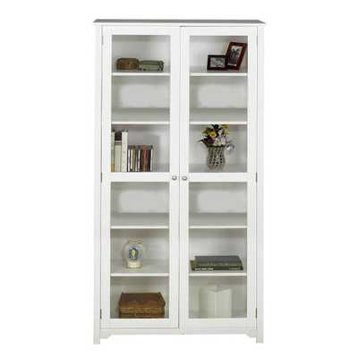 Oxford White Glass Door Bookcase - Home Depot