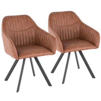 Clubhouse Pleated Brown Faux Leather Chair (Set of 2) - Home Depot