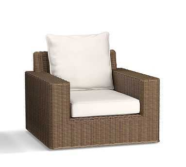 Torrey Square-Arm Swivel Occasional Chair, Natural - Pottery Barn