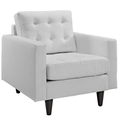 Empress Bonded Leather Armchair in White - Home Depot