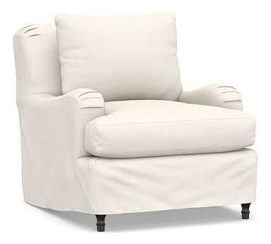 Carlisle Slipcovered Armchair, Down Blend Wrapped Cushions, Performance Chateau Basketweave Ivory - Pottery Barn