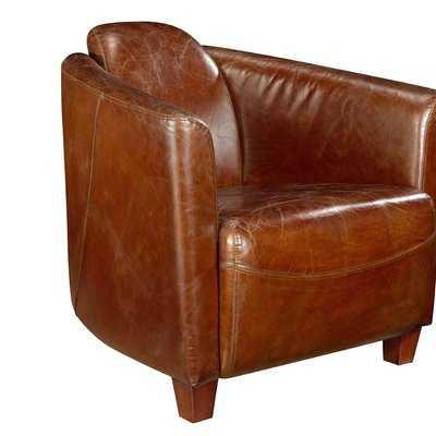 Kailey Leather Barrel Chair - Wayfair
