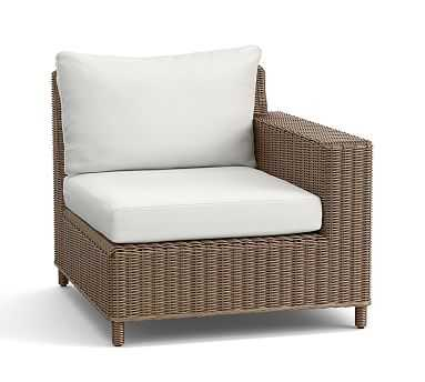 Torrey All-Weather Wicker Right Square Arm & Cushion, Natural - Pottery Barn