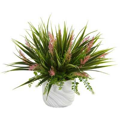 Grass and Fern Desktop Foliage Plant in Vase - Wayfair