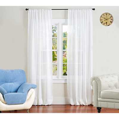 A1 Home Collections Sheer Linen Drape in White - 50 in. x 96 in. - Home Depot