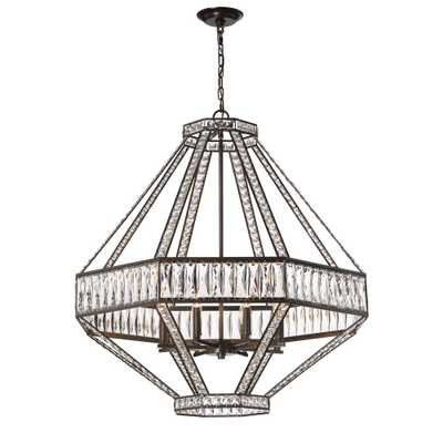 Eurofase Bellezza Collection 8-Light Bronze Chandelier with Crystal Shade - Home Depot