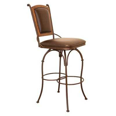 Swivel Bar Stool with Leather Back - No Arms - Wayfair