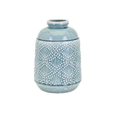IMAX Felix Ceramic Blue Medium Vase - Home Depot