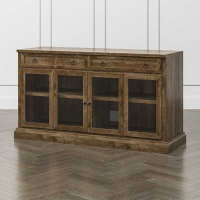 """Cameo Nero Noce 62"""" Modular Media Console with Glass Doors - Crate and Barrel"""