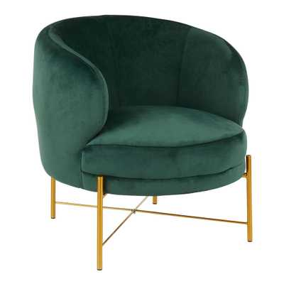 Lumisource Chloe Emerald Green Velvet and Gold Accent Chair - Home Depot