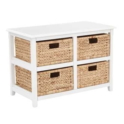 OSP Home Furnishings Seabrook White 2-Tier Storage Unit with Natural Baskets, White Wood Finish - Home Depot