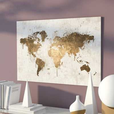 Mapamundi White Gold Maps Art - Picture Frame Graphic Art Print on Canvas - AllModern