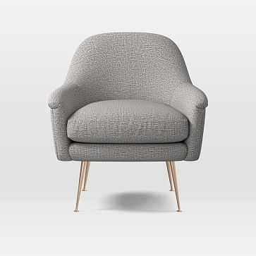 Phoebe Mid-Century Chair, Deco Weave, Feather Gray, Brass Legs - West Elm