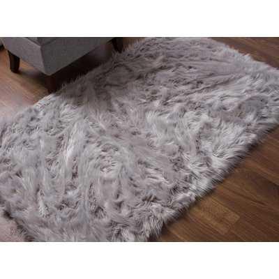 Charlotte Handmade Shag Faux Sheepskin Gray Indoor Area Rug - Wayfair