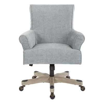 OSP Home Furnishings Megan Mist Fabric Office Chair with Grey Wash Wood, Mist Polyester - Home Depot
