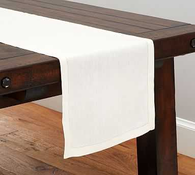 """PB Classic Table Runner - Ivory - 16"""" wide x 108"""" long - Pottery Barn"""